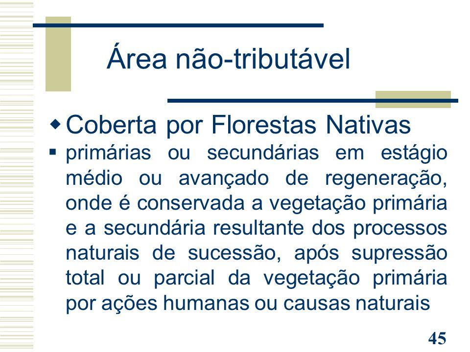Área não-tributável Coberta por Florestas Nativas