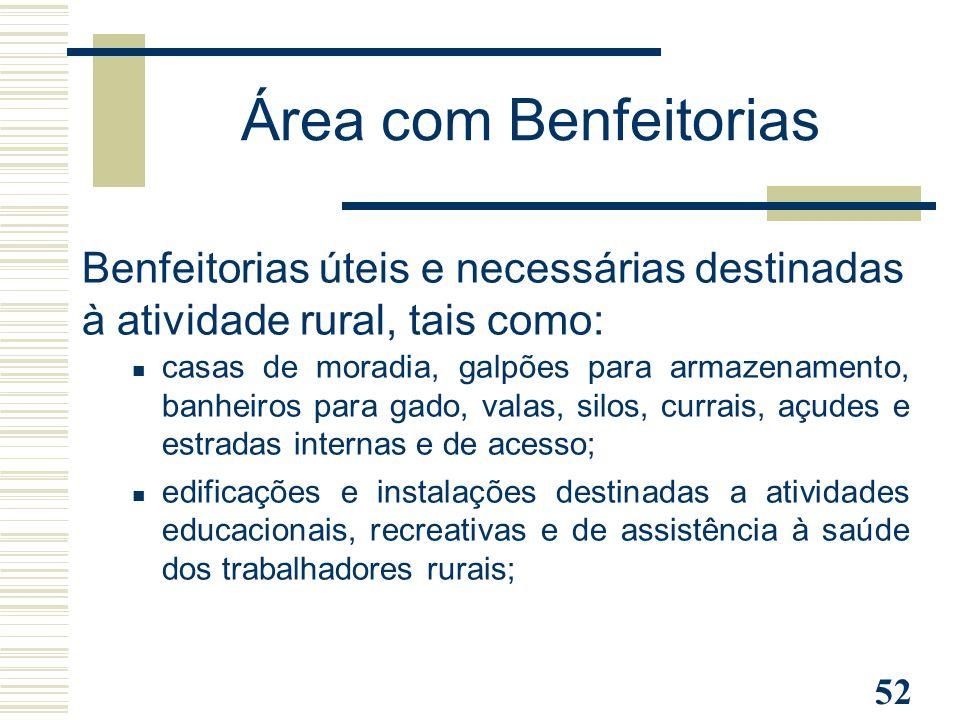 Área com Benfeitorias Benfeitorias úteis e necessárias destinadas à atividade rural, tais como: