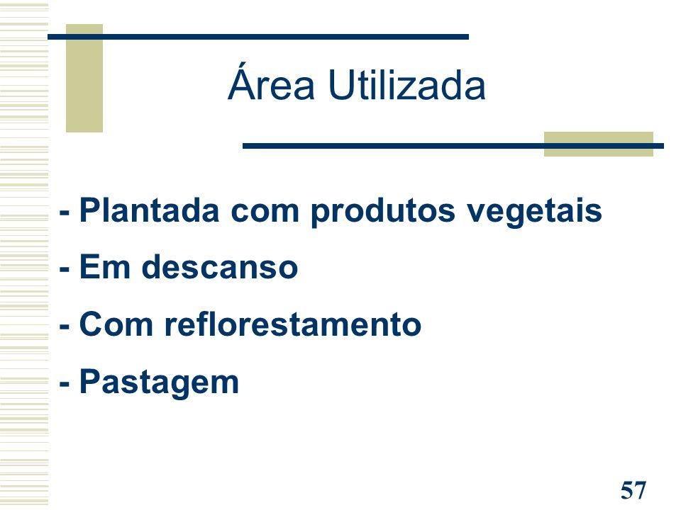 Área Utilizada - Plantada com produtos vegetais - Em descanso