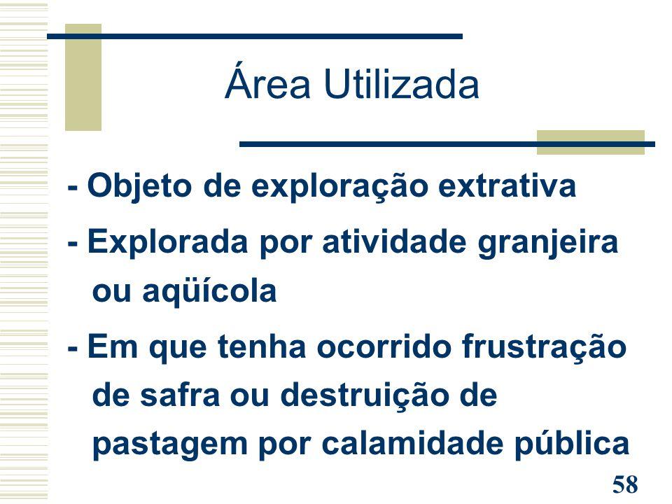 Área Utilizada - Objeto de exploração extrativa
