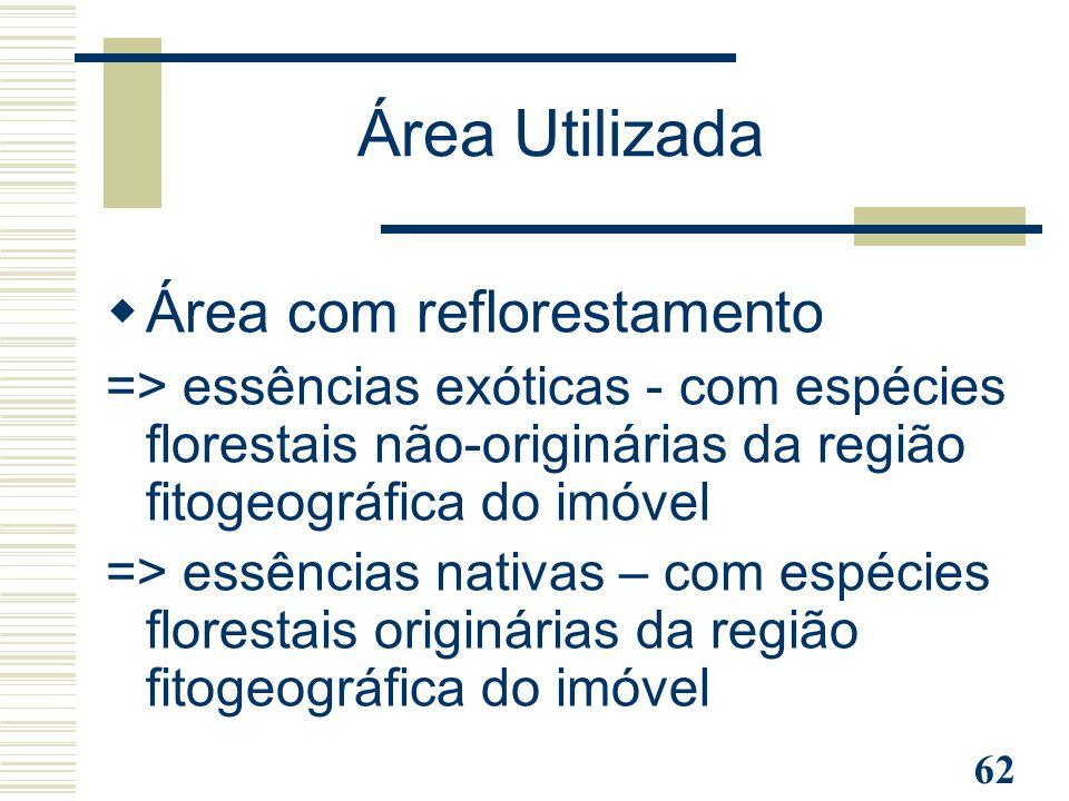 Área Utilizada Área com reflorestamento