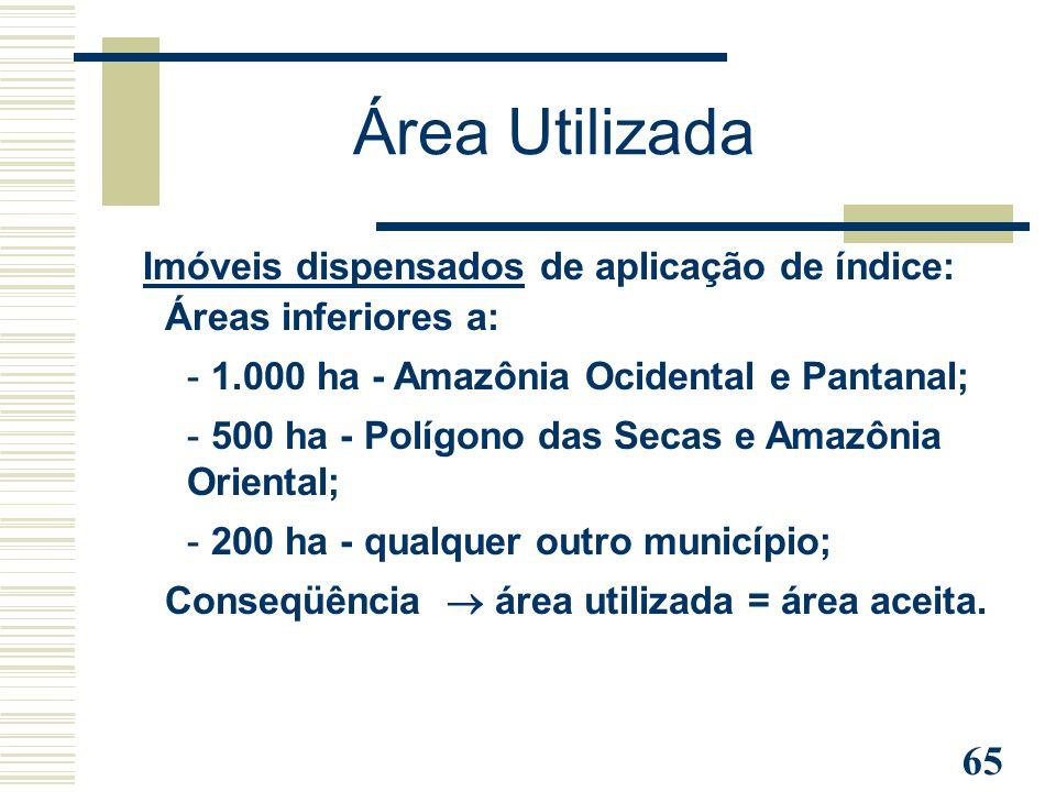 Área Utilizada Imóveis dispensados de aplicação de índice: