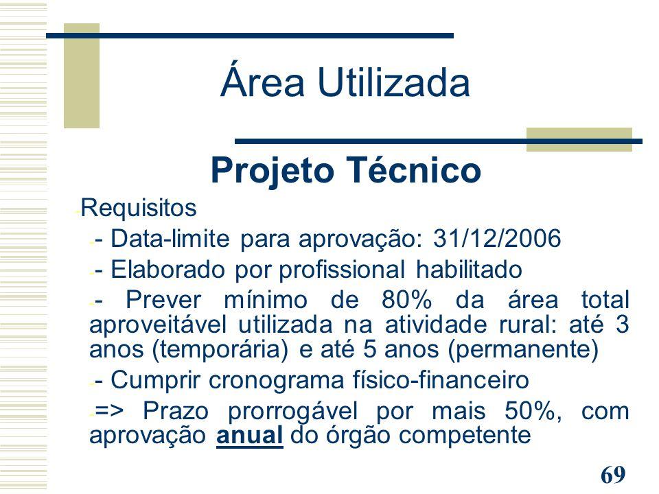 Área Utilizada Projeto Técnico Requisitos