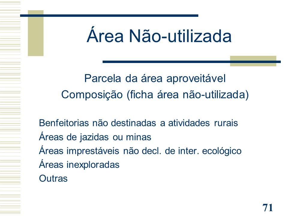 Área Não-utilizada Parcela da área aproveitável