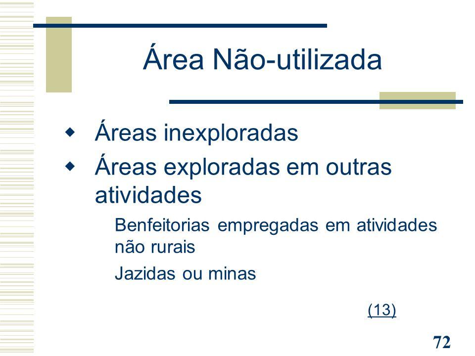Área Não-utilizada Áreas inexploradas