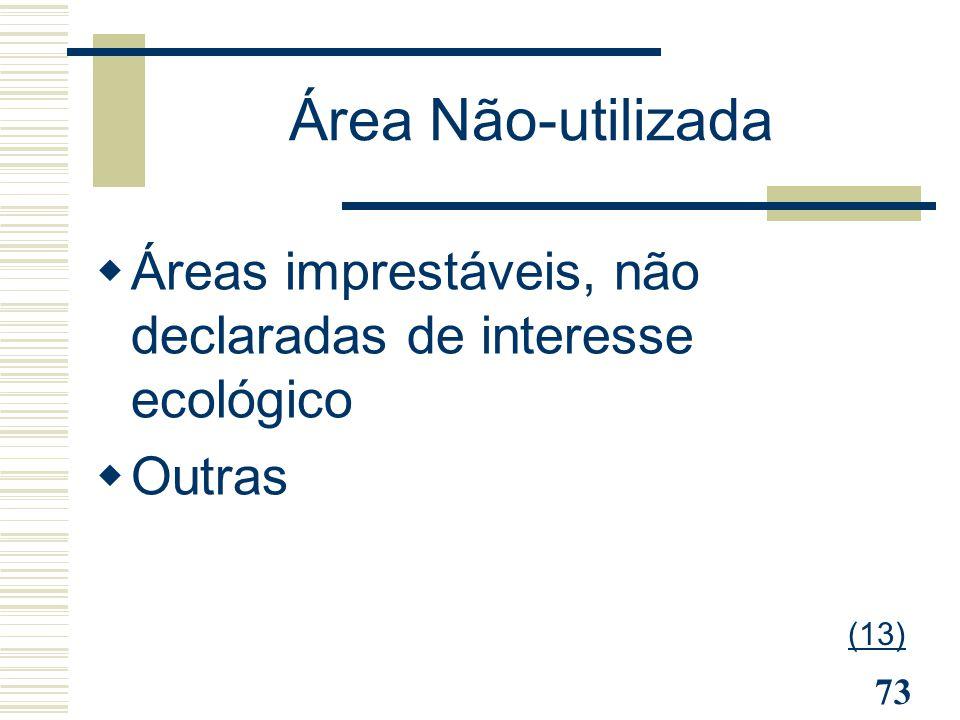 Área Não-utilizada Áreas imprestáveis, não declaradas de interesse ecológico Outras (13)