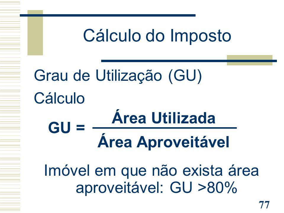 Imóvel em que não exista área aproveitável: GU >80%