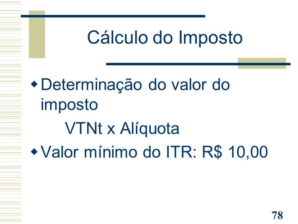 Cálculo do Imposto Determinação do valor do imposto VTNt x Alíquota