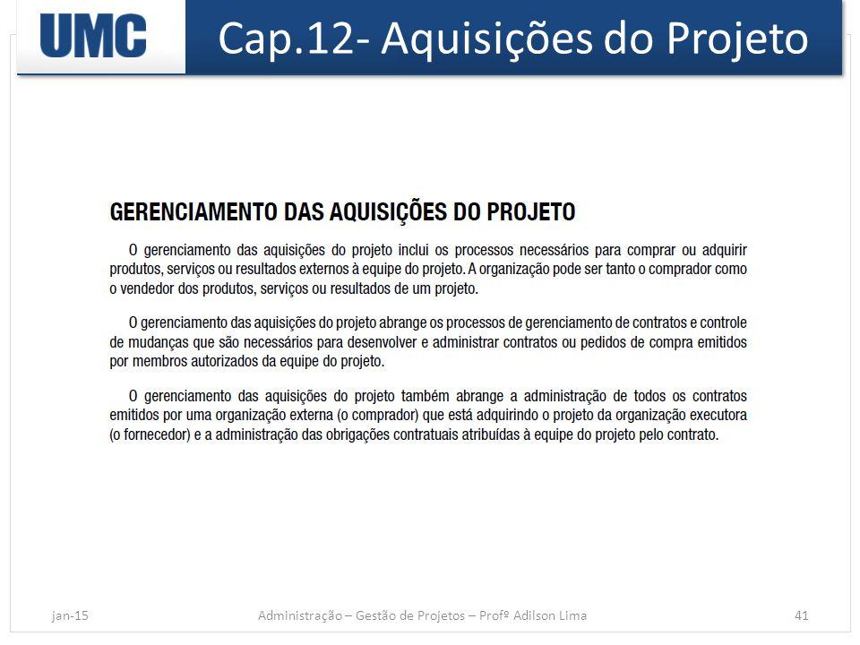 Cap.12- Aquisições do Projeto