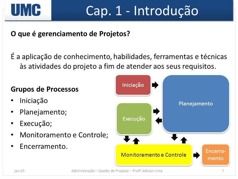 Cap. 1 - Introdução O que é gerenciamento de Projetos