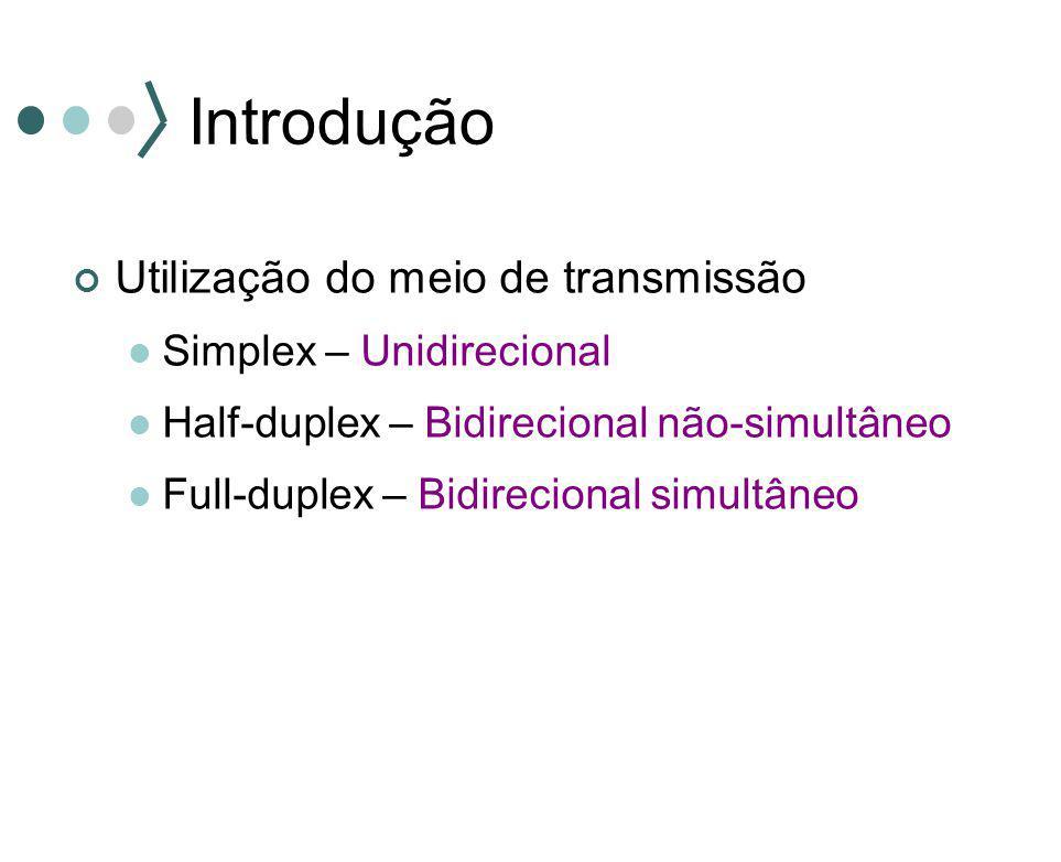 Introdução Utilização do meio de transmissão Simplex – Unidirecional