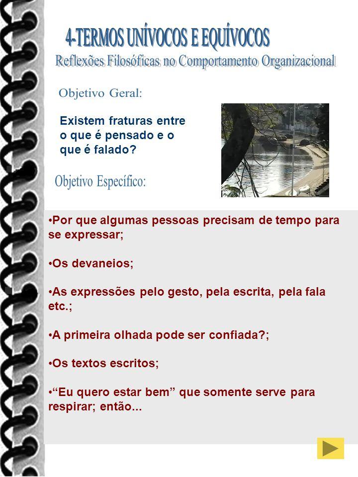 Objetivo Geral: Objetivo Específico: 4-TERMOS UNÍVOCOS E EQUÍVOCOS