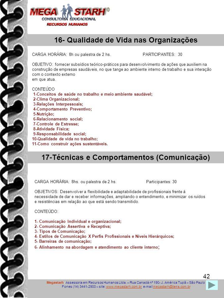 16- Qualidade de Vida nas Organizações
