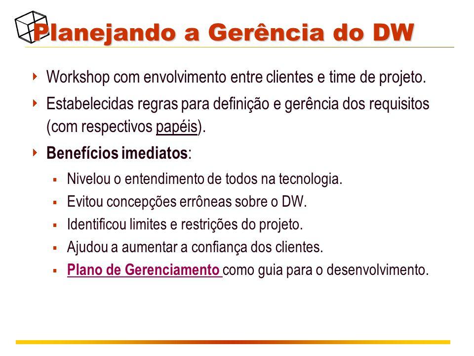Planejando a Gerência do DW