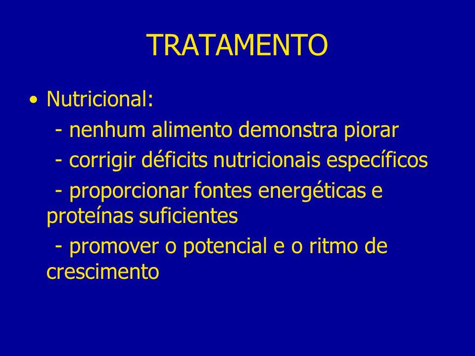 TRATAMENTO Nutricional: - nenhum alimento demonstra piorar