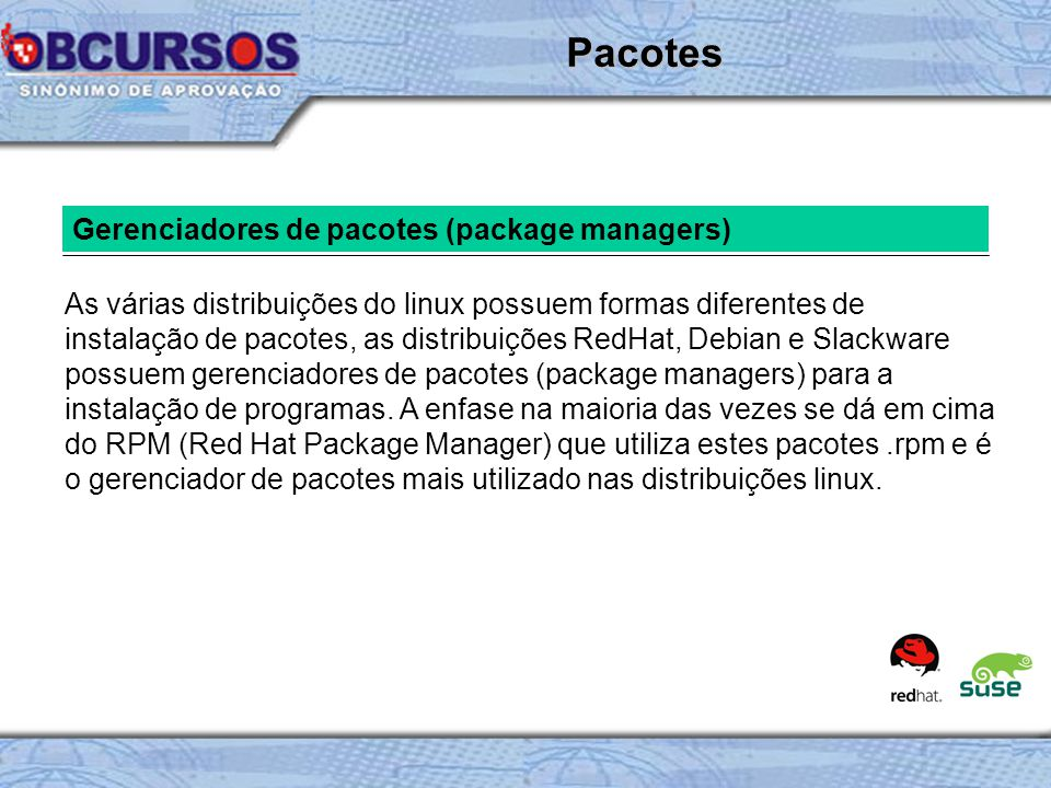 Pacotes Gerenciadores de pacotes (package managers)