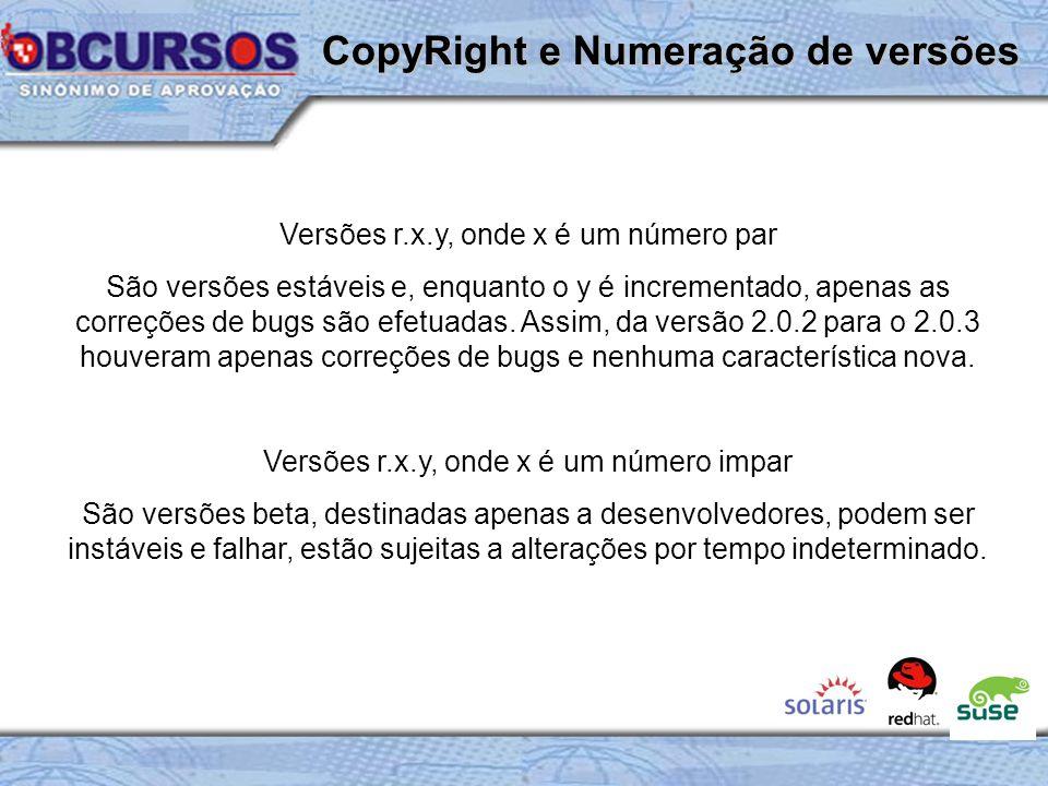 CopyRight e Numeração de versões