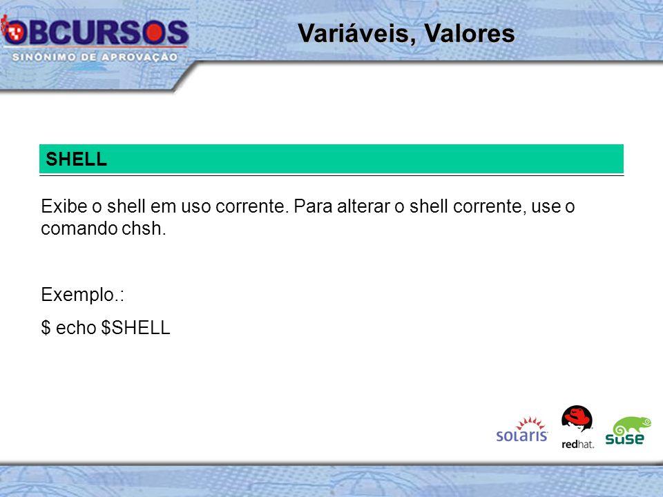 Variáveis, Valores SHELL