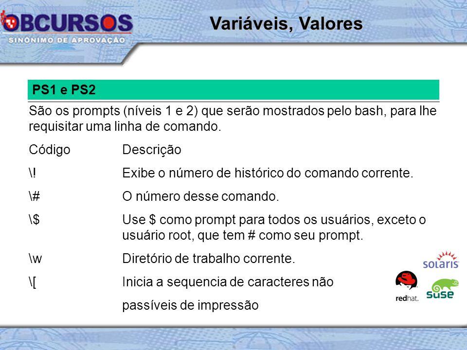 Variáveis, Valores PS1 e PS2