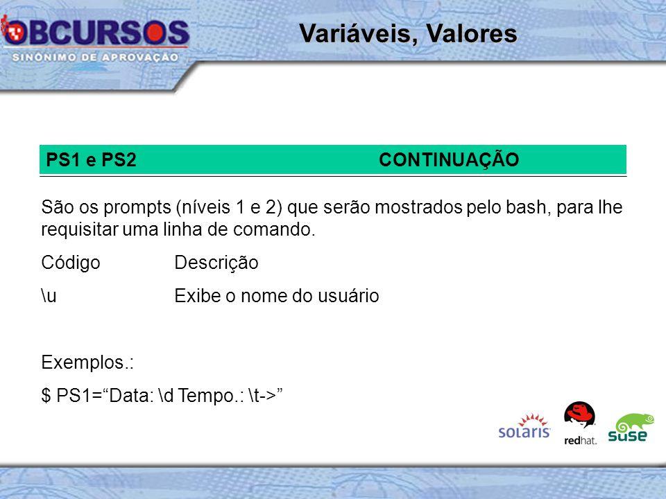 Variáveis, Valores PS1 e PS2 CONTINUAÇÃO