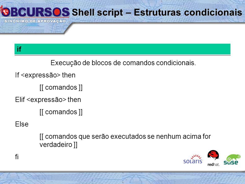 Shell script – Estruturas condicionais