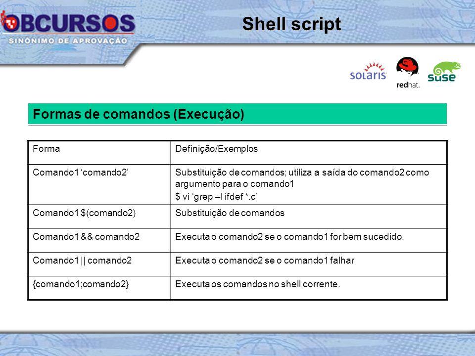 Shell script Formas de comandos (Execução) Forma Definição/Exemplos