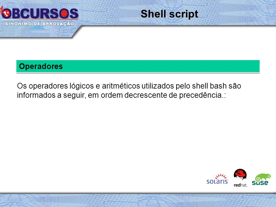 Shell script Operadores
