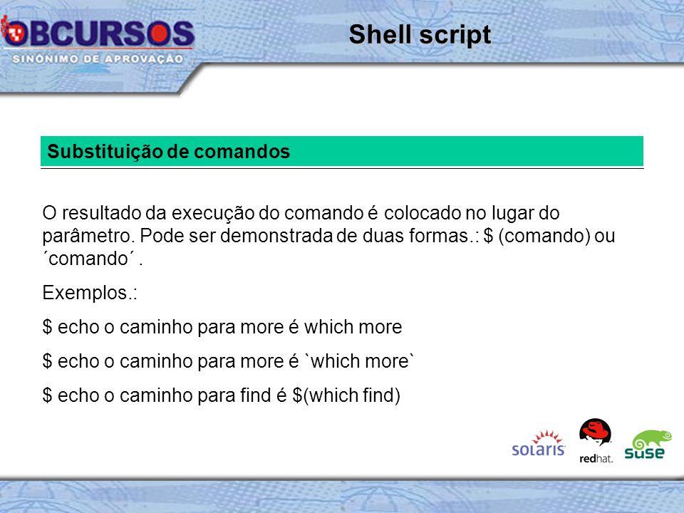 Shell script Substituição de comandos