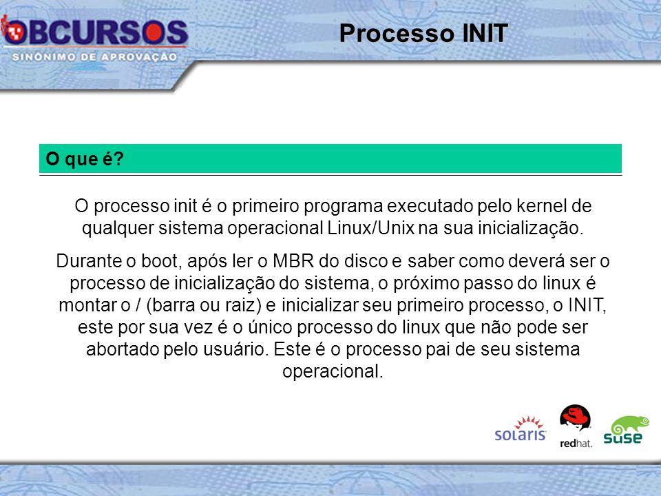 Processo INIT O que é O processo init é o primeiro programa executado pelo kernel de qualquer sistema operacional Linux/Unix na sua inicialização.