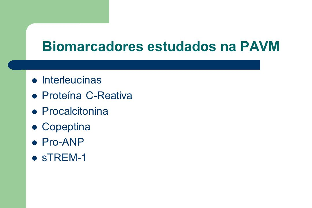 Biomarcadores estudados na PAVM