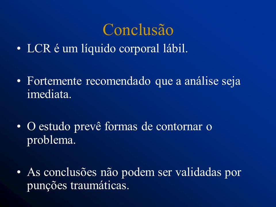 Conclusão LCR é um líquido corporal lábil.