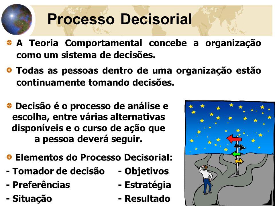 Processo Decisorial A Teoria Comportamental concebe a organização como um sistema de decisões.
