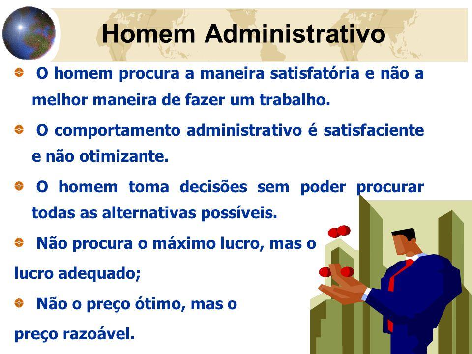 Homem Administrativo O homem procura a maneira satisfatória e não a melhor maneira de fazer um trabalho.