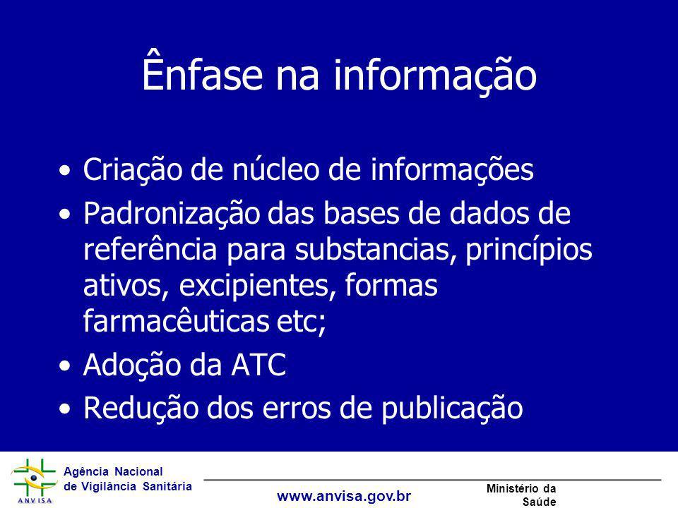 Ênfase na informação Criação de núcleo de informações