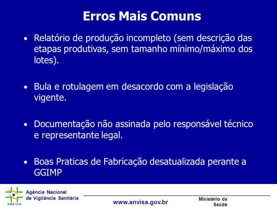 Erros Mais Comuns Relatório de produção incompleto (sem descrição das etapas produtivas, sem tamanho mínimo/máximo dos lotes).
