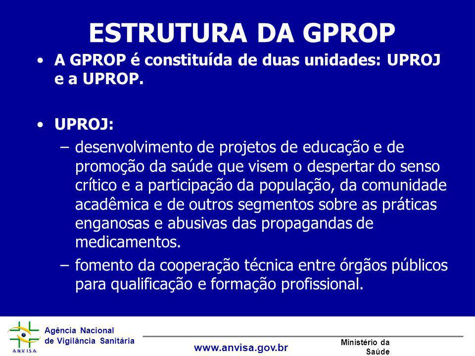 ESTRUTURA DA GPROP A GPROP é constituída de duas unidades: UPROJ e a UPROP. UPROJ: