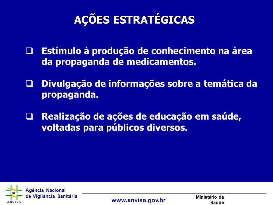 AÇÕES ESTRATÉGICAS Estímulo à produção de conhecimento na área da propaganda de medicamentos.