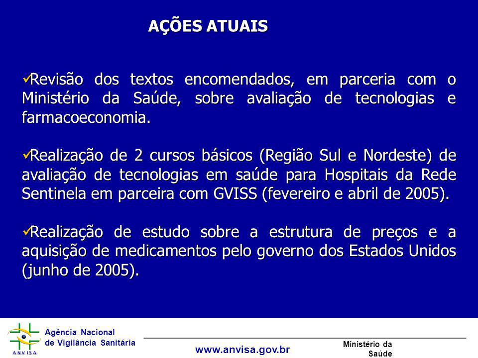 AÇÕES ATUAIS Revisão dos textos encomendados, em parceria com o Ministério da Saúde, sobre avaliação de tecnologias e farmacoeconomia.