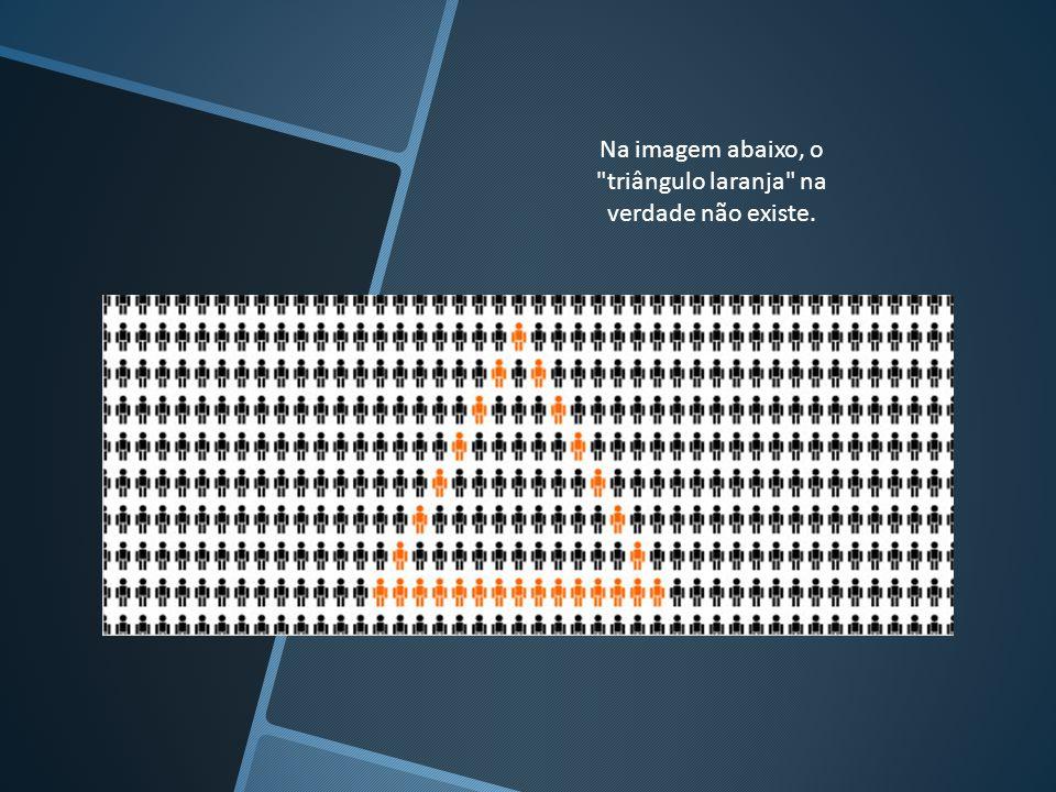 Na imagem abaixo, o triângulo laranja na verdade não existe.