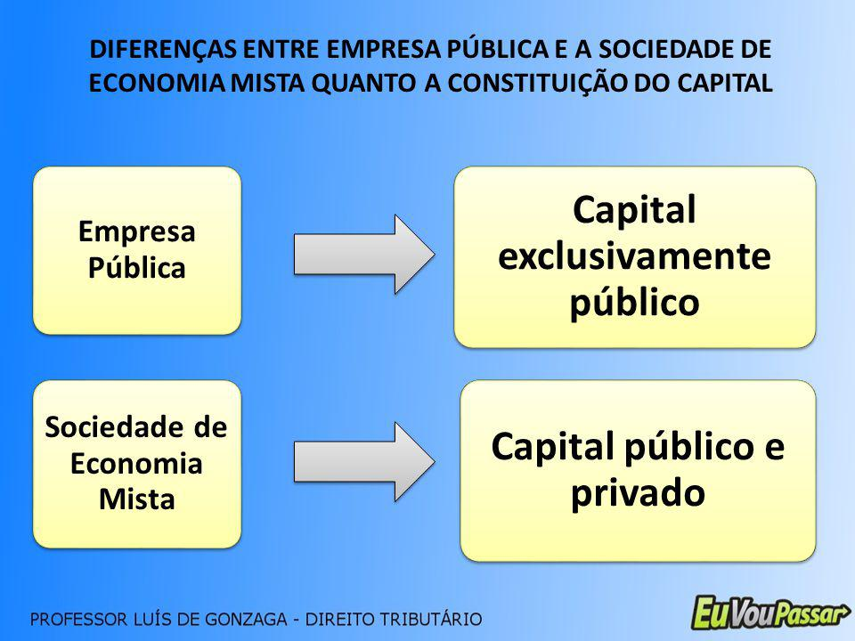 Capital exclusivamente público Capital público e privado