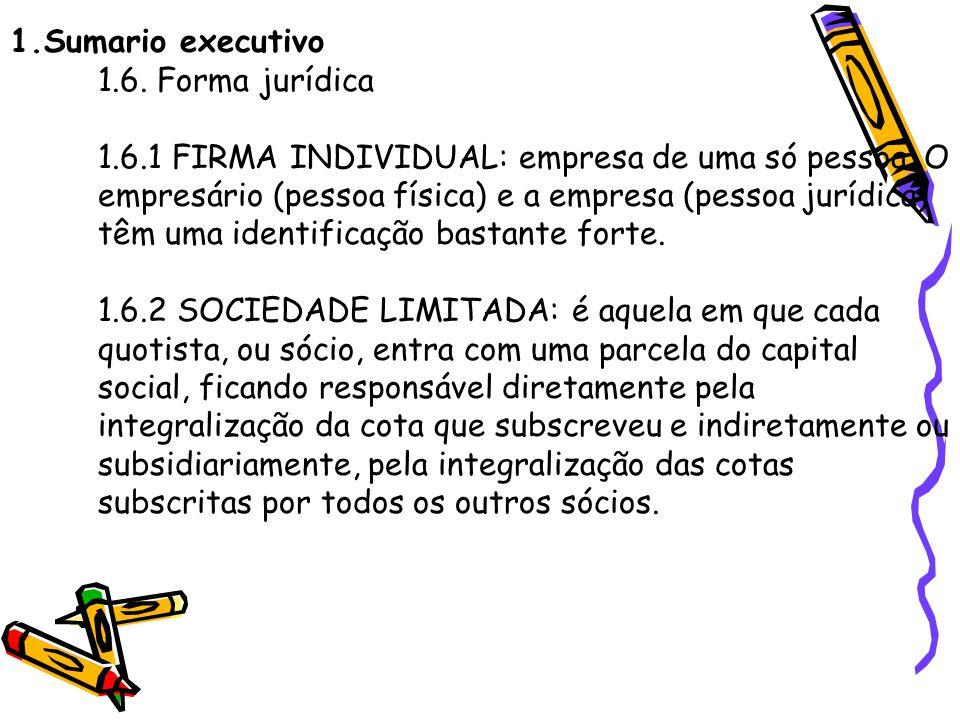 1. Sumario executivo 1. 6. Forma jurídica 1. 6