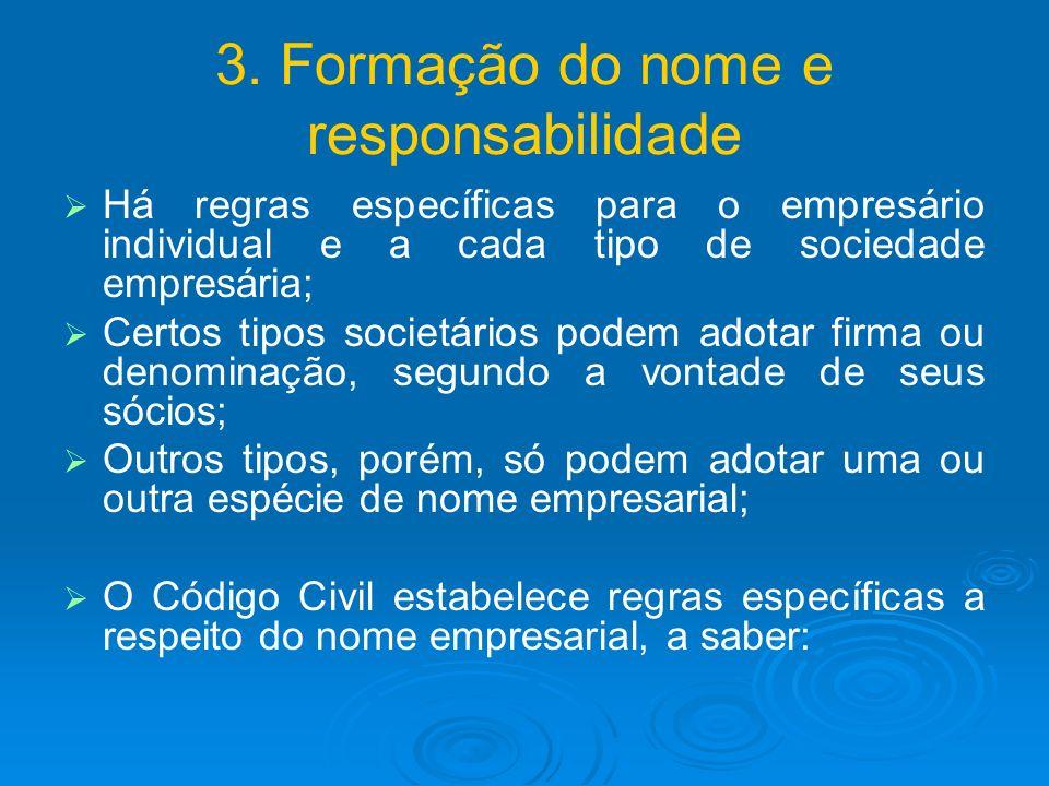3. Formação do nome e responsabilidade