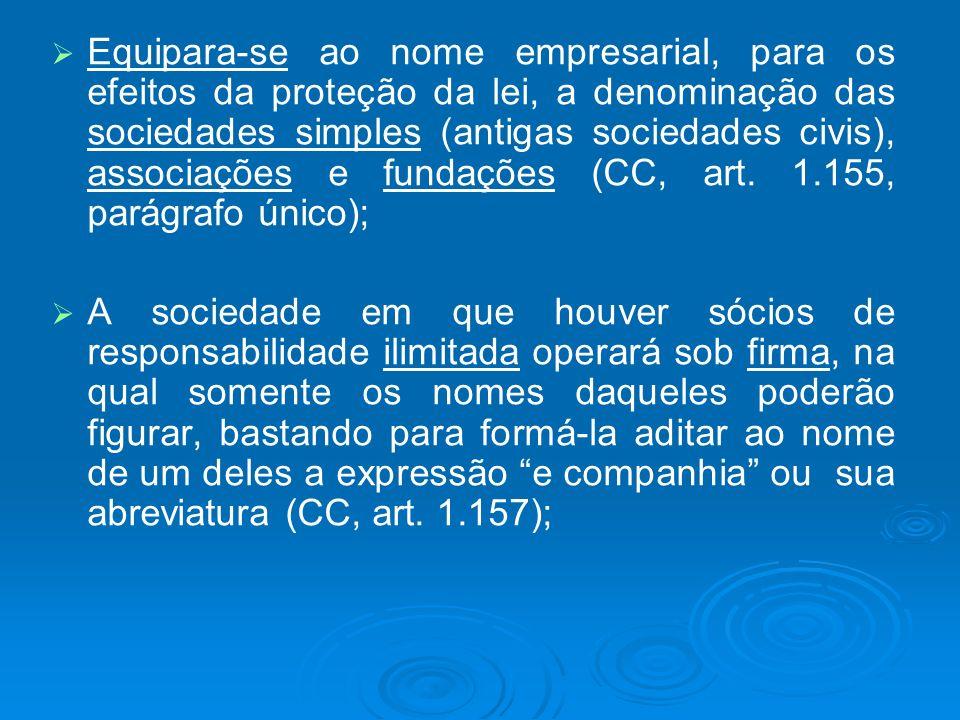 Equipara-se ao nome empresarial, para os efeitos da proteção da lei, a denominação das sociedades simples (antigas sociedades civis), associações e fundações (CC, art. 1.155, parágrafo único);