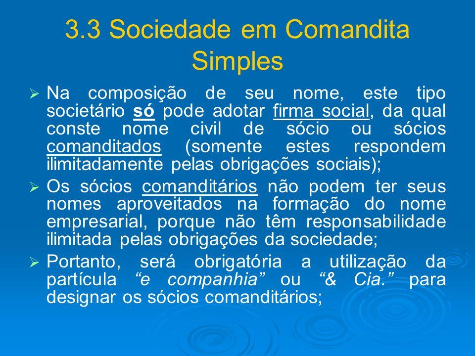 3.3 Sociedade em Comandita Simples