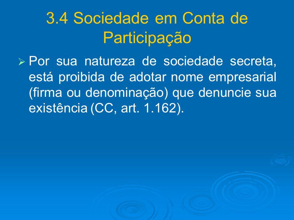 3.4 Sociedade em Conta de Participação
