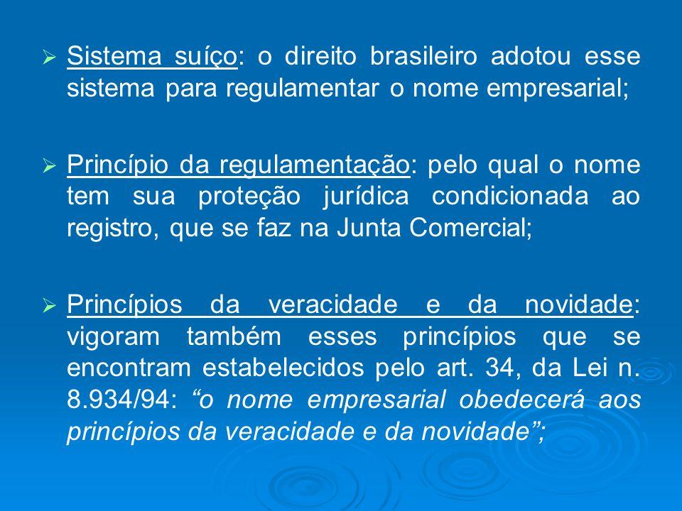 Sistema suíço: o direito brasileiro adotou esse sistema para regulamentar o nome empresarial;