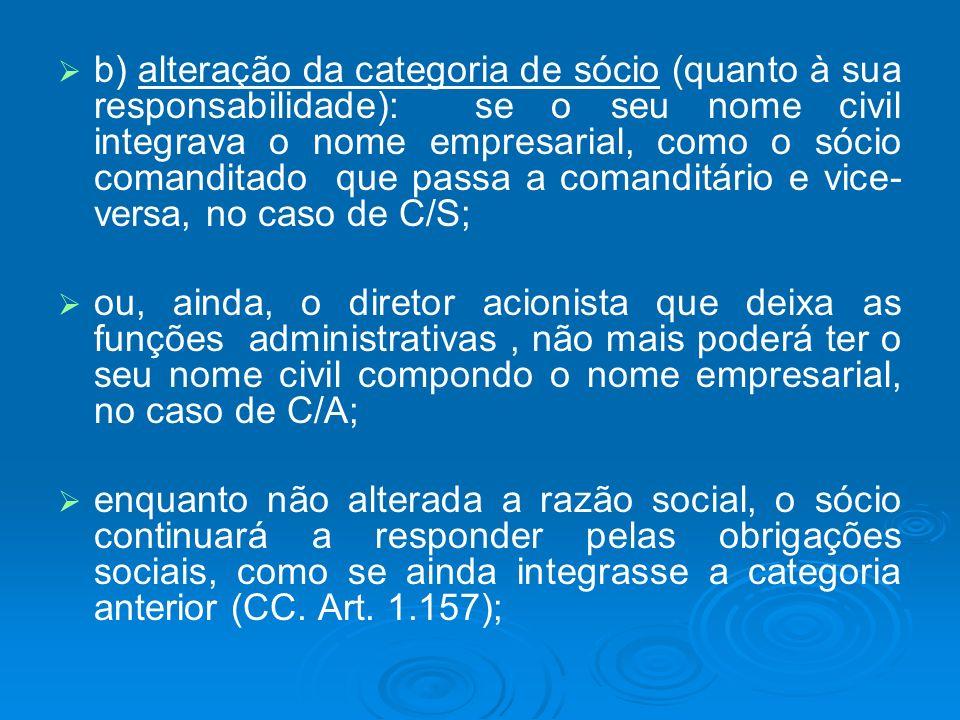 b) alteração da categoria de sócio (quanto à sua responsabilidade): se o seu nome civil integrava o nome empresarial, como o sócio comanditado que passa a comanditário e vice-versa, no caso de C/S;
