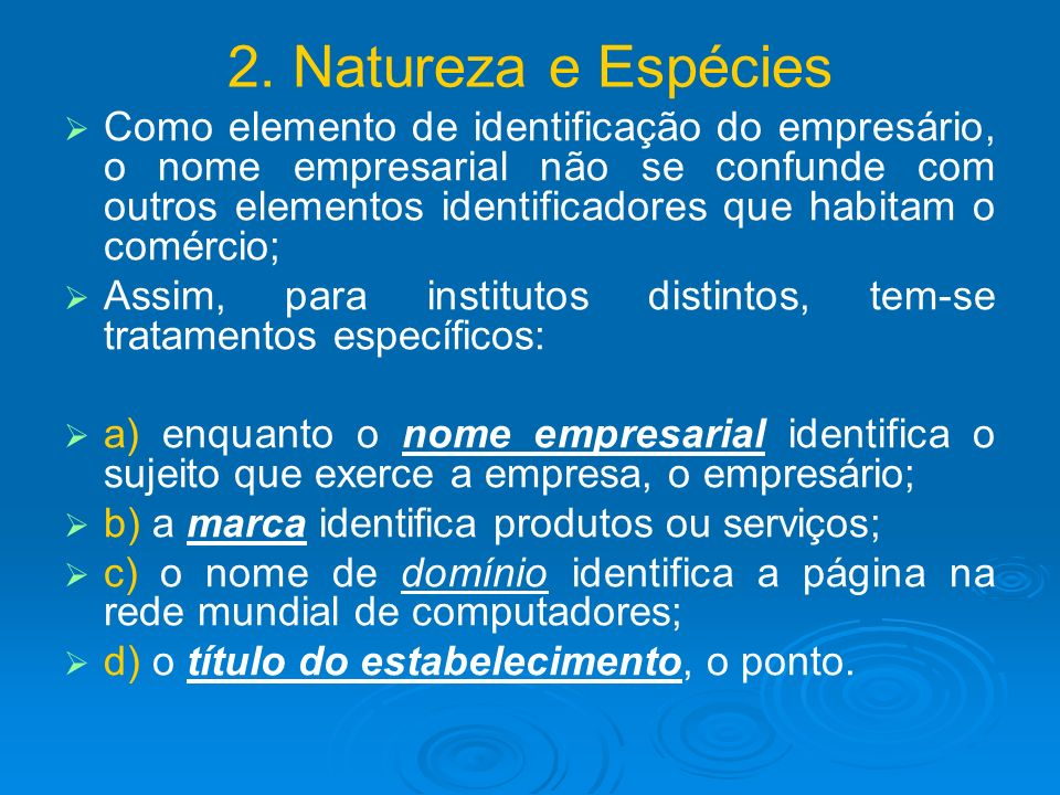 2. Natureza e Espécies