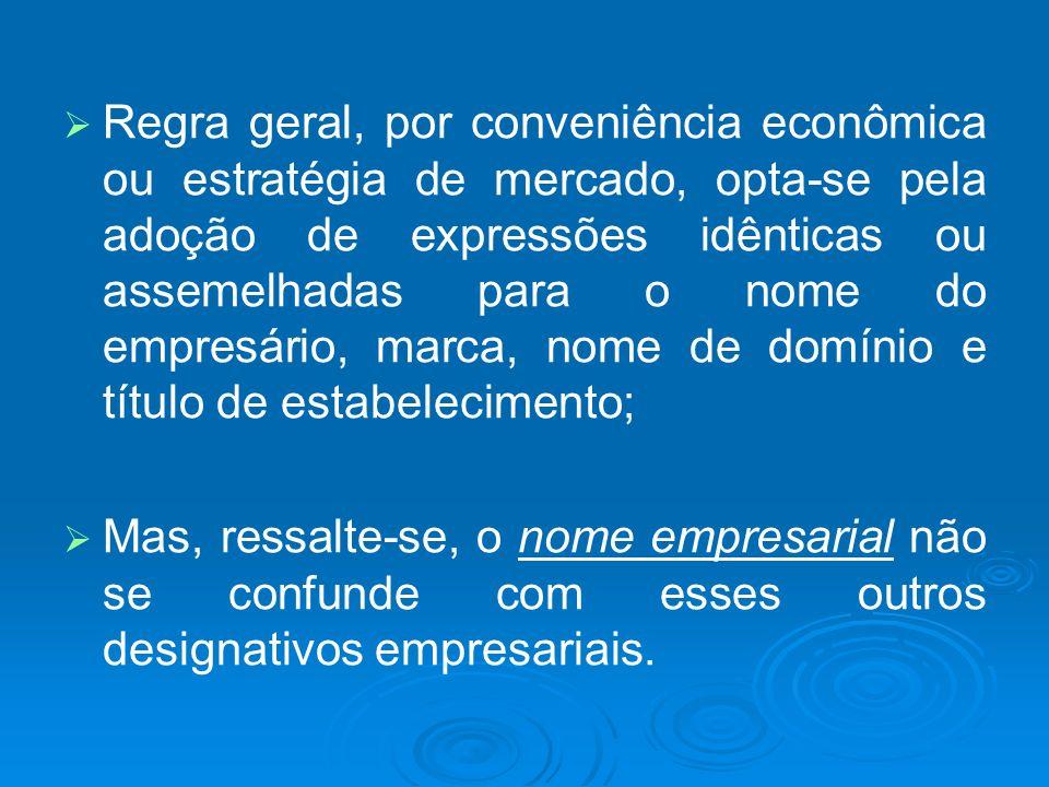 Regra geral, por conveniência econômica ou estratégia de mercado, opta-se pela adoção de expressões idênticas ou assemelhadas para o nome do empresário, marca, nome de domínio e título de estabelecimento;