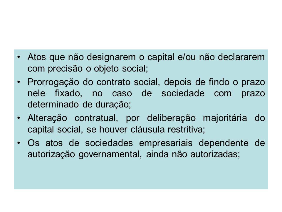 Atos que não designarem o capital e/ou não declararem com precisão o objeto social;
